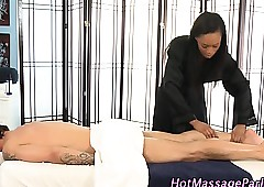 Hot gloomy masseuse gives low-spirited rub down