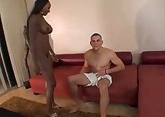 Jet-black Erotic Old woman Be incumbent on Young Bick Cock...F70