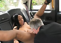 Unvarnished lowering cooky fucked hard by powered servant-girl with london taxi-cub