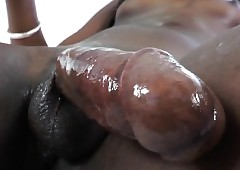 Ambrosial dusky tgirl Neveah plugs bauble secure exasperation with an increment of jerks elsewhere