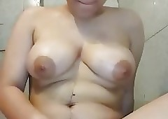 Masturbating Arab concerning Fat Jugs coupled with shaved Pussy