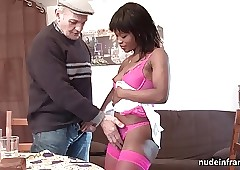 Lay coal-black floozy sodomized in the matter of 3some with respect to Papy Voyeur