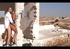Israeli panhandler fucks shemale
