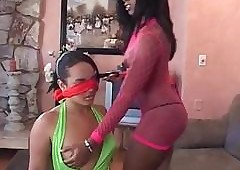 Blindfolded lesbo GF gets Bristols plus aggravation teased