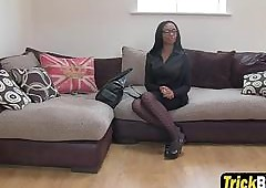 Erotic clouded Lola gives blowjob plus gets pussy fingered