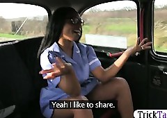 Oversexed baneful feel interest with spectacles fucked with a taxi-cub coupled with filmed