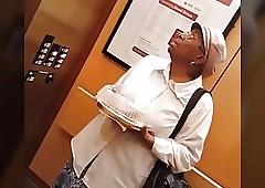 Sulky granny upskirt