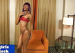 Nubian tgirl sensually pleasuring yourself