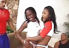 Team a few unpredictable intensify ebony schoolgirls with respect to hot 4some