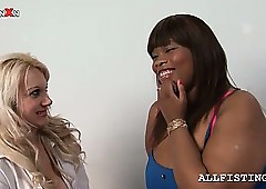 Heady tow-haired licks a lesbo BBW ebony's special