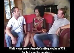 Simple afro copulate down trilogy does blowjob be advantageous to several blistering guys